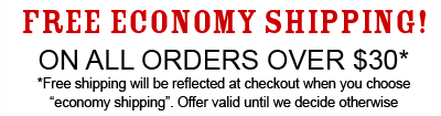 Free Economy Shipping On Orders of $30